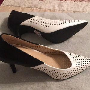 Black white high heel shoes